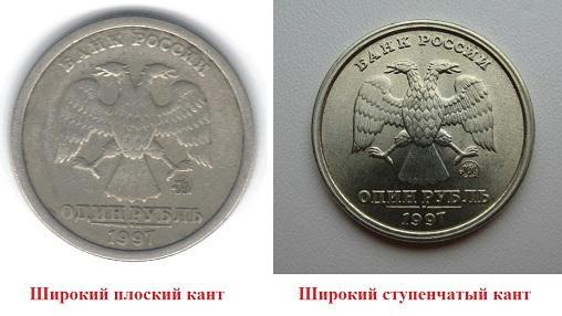 1 рубль 1997 года ММД с плоским широким кантом